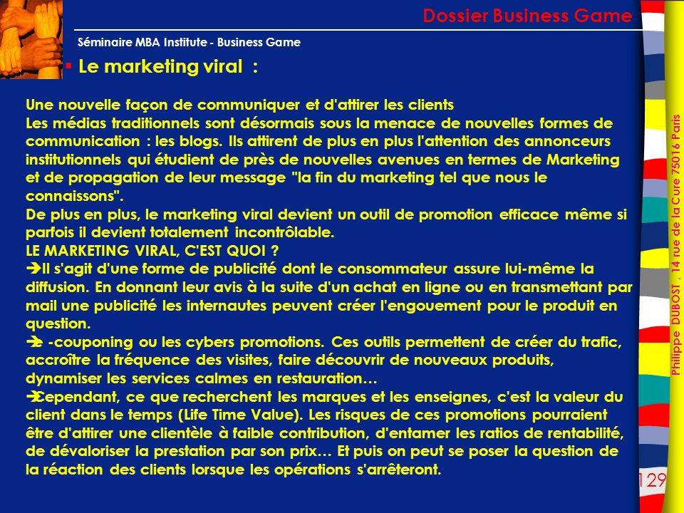 Dossier Business Game Le marketing viral :