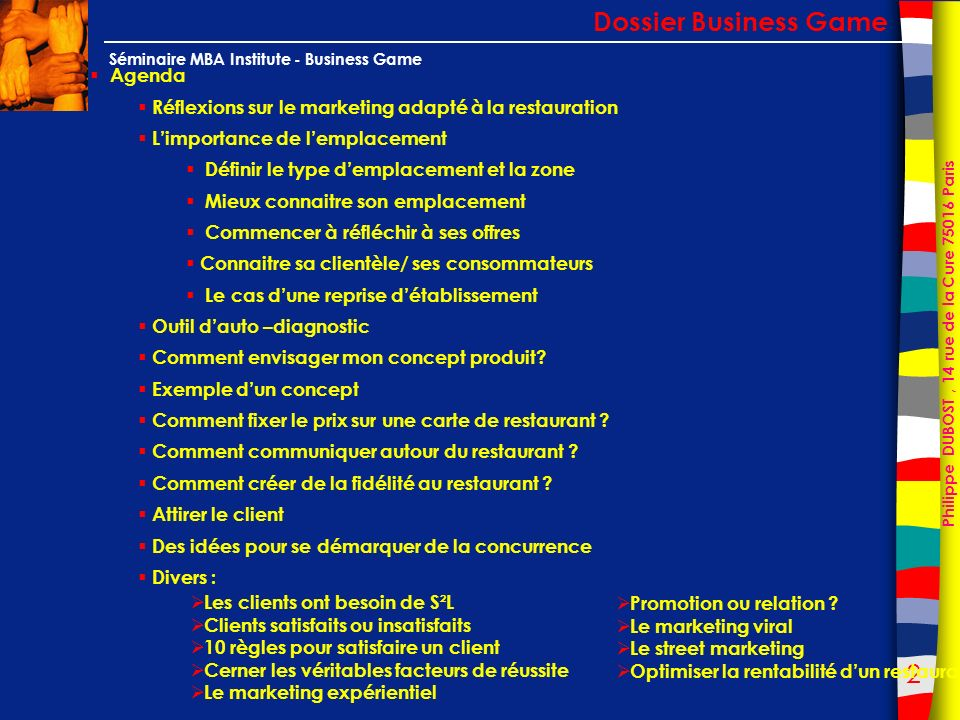 Dossier Business Game Agenda