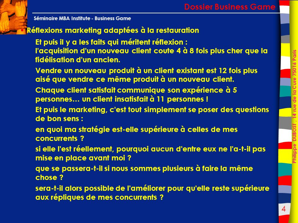 Dossier Business Game Réflexions marketing adaptées à la restauration