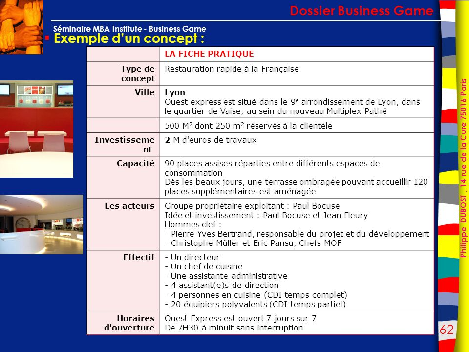 Dossier Business Game Exemple d'un concept : LA FICHE PRATIQUE