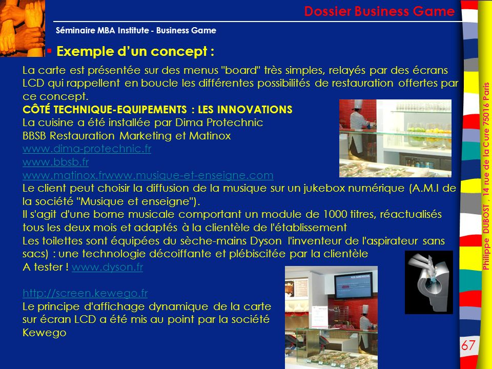 Dossier Business Game Exemple d'un concept :