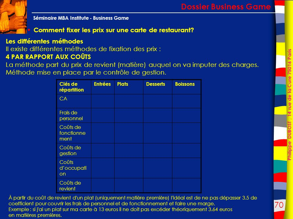 Dossier Business Game Comment fixer les prix sur une carte de restaurant Les différentes méthodes.