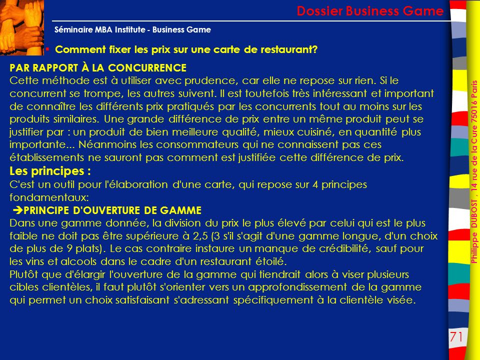 Dossier Business Game Les principes :