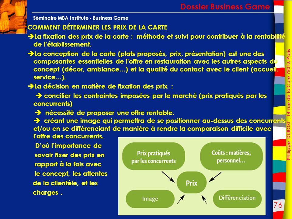 Dossier Business Game COMMENT DÉTERMINER LES PRIX DE LA CARTE