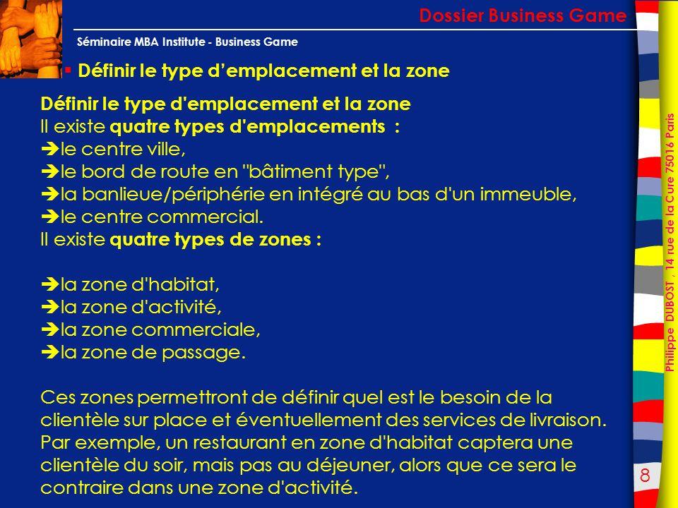 Dossier Business Game Définir le type d'emplacement et la zone. Définir le type d emplacement et la zone.
