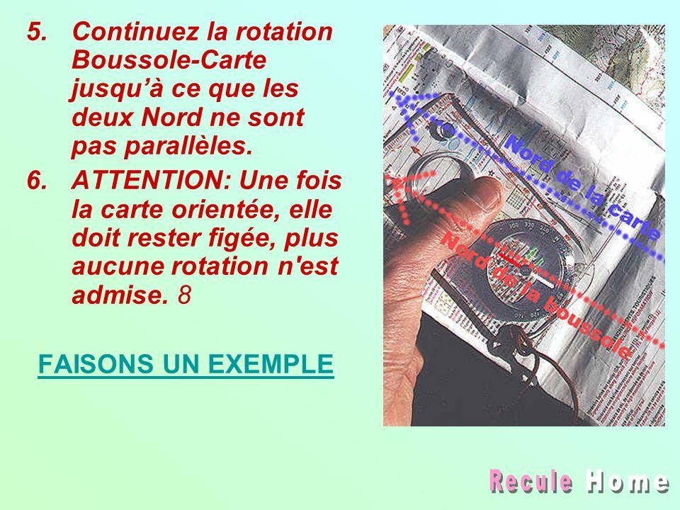 Continuez la rotation Boussole-Carte jusqu'à ce que les deux Nord ne sont pas parallèles.
