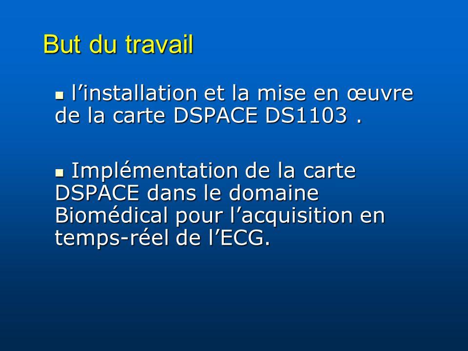 But du travail l'installation et la mise en œuvre de la carte DSPACE DS1103 .