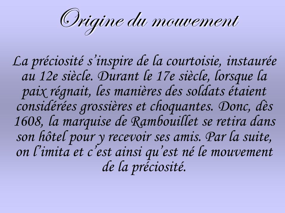 Origine du mouvement