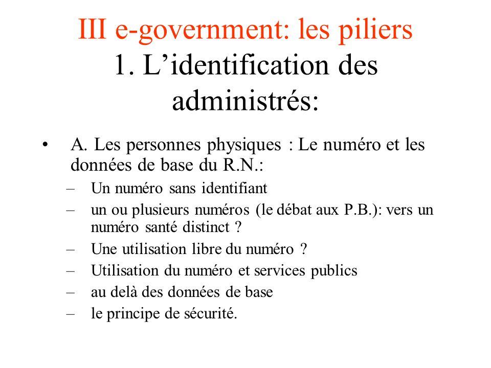 III e-government: les piliers 1. L'identification des administrés: