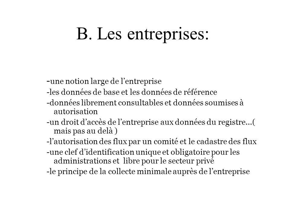 B. Les entreprises: -une notion large de l'entreprise