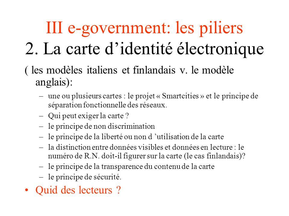 III e-government: les piliers 2. La carte d'identité électronique