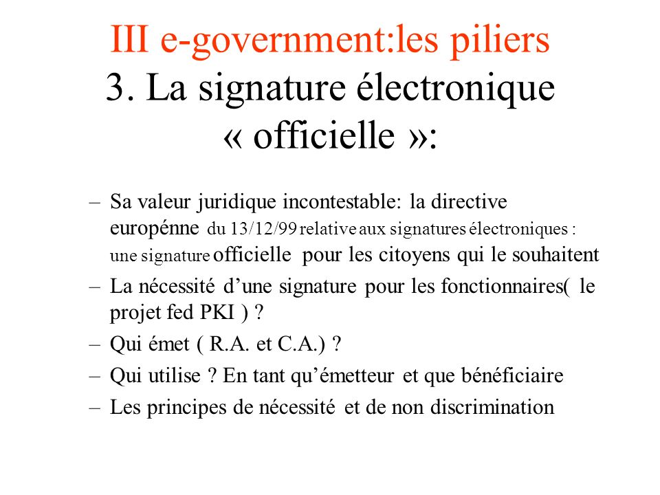 III e-government:les piliers 3