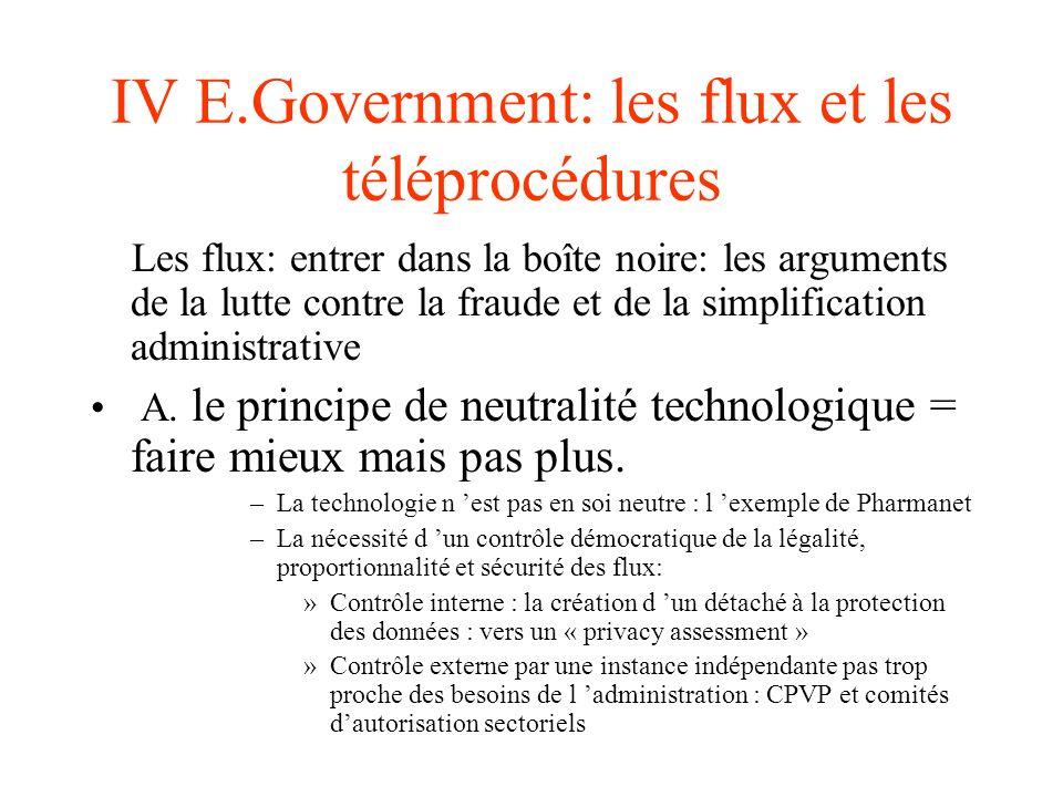 IV E.Government: les flux et les téléprocédures