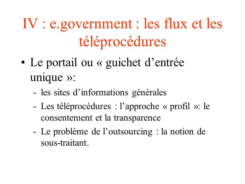 IV : e.government : les flux et les téléprocédures