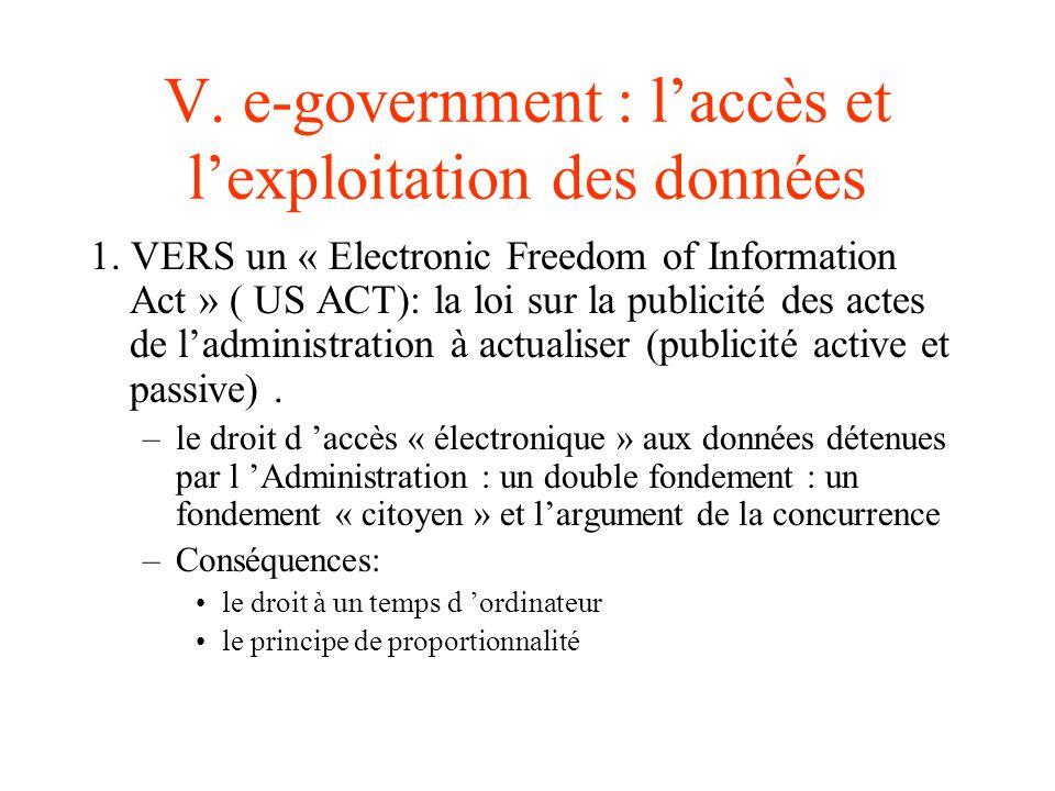 V. e-government : l'accès et l'exploitation des données