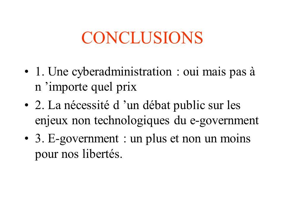 CONCLUSIONS 1. Une cyberadministration : oui mais pas à n 'importe quel prix.