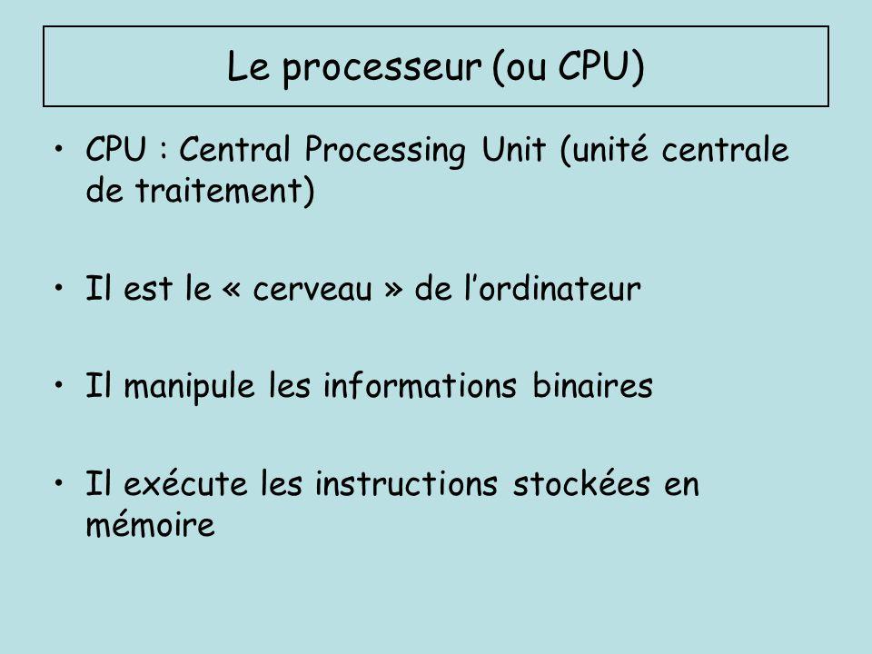 Le processeur (ou CPU) CPU : Central Processing Unit (unité centrale de traitement) Il est le « cerveau » de l'ordinateur.