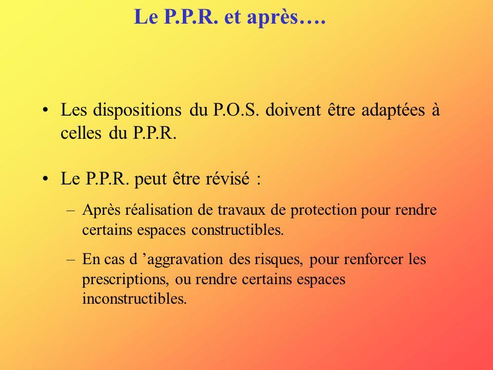 Le P.P.R. et après…. Les dispositions du P.O.S. doivent être adaptées à celles du P.P.R. Le P.P.R. peut être révisé :