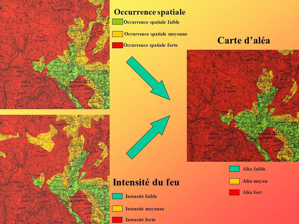 Carte d'aléa Intensité du feu