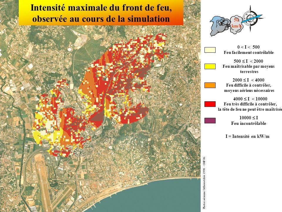 Intensité maximale du front de feu, observée au cours de la simulation