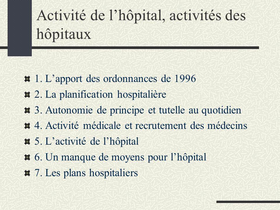 Activité de l'hôpital, activités des hôpitaux
