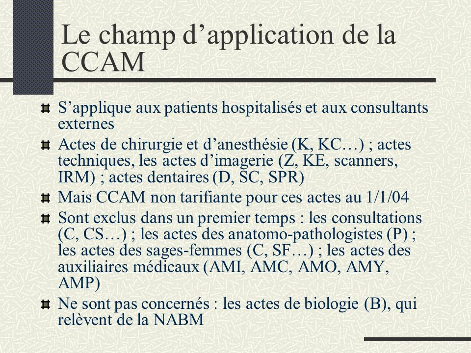 Le champ d'application de la CCAM