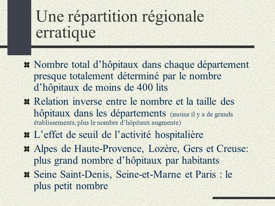 Une répartition régionale erratique