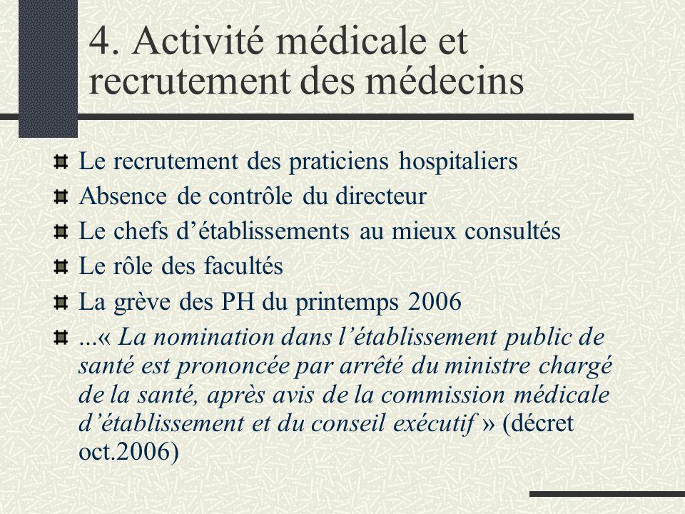 4. Activité médicale et recrutement des médecins