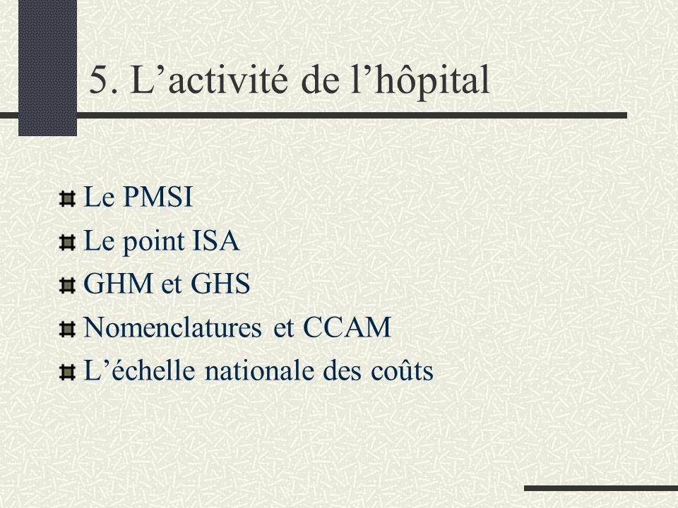 5. L'activité de l'hôpital