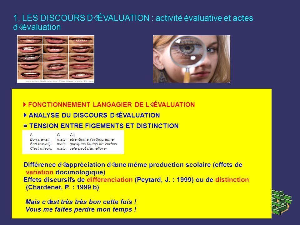 1. LES DISCOURS D´ÉVALUATION : activité évaluative et actes