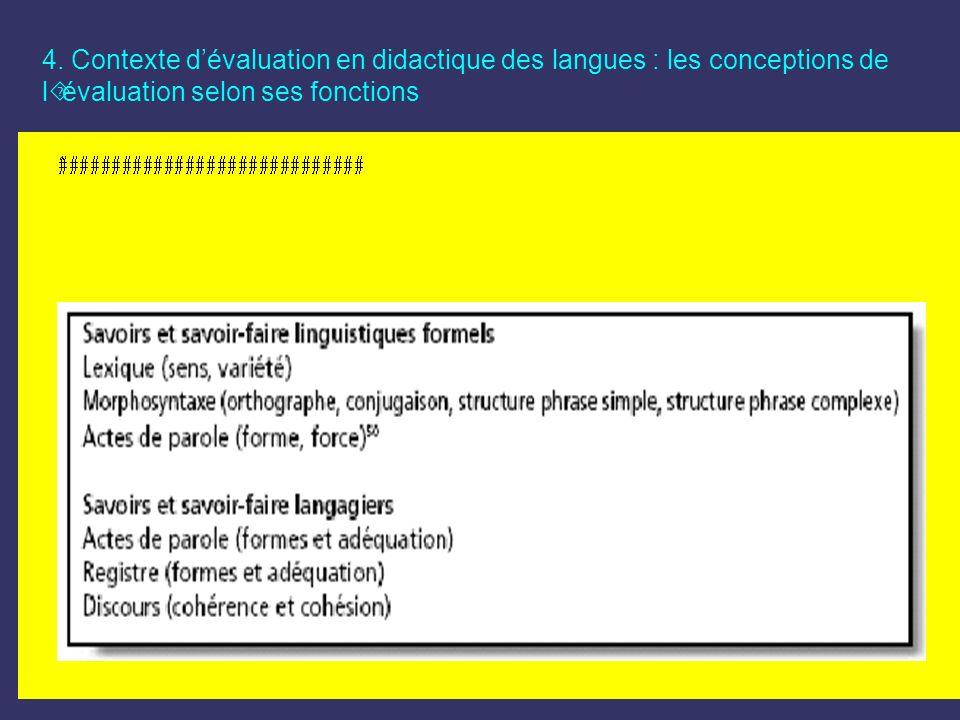4. Contexte d'évaluation en didactique des langues : les conceptions de