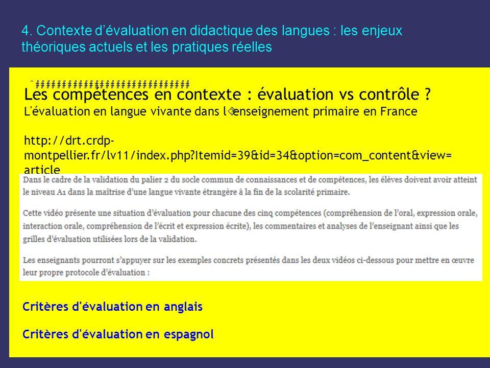 Les compétences en contexte : évaluation vs contrôle