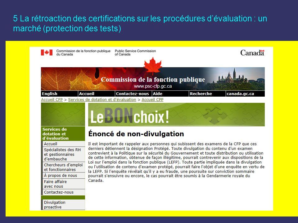 5 La rétroaction des certifications sur les procédures d'évaluation : un marché (protection des tests)