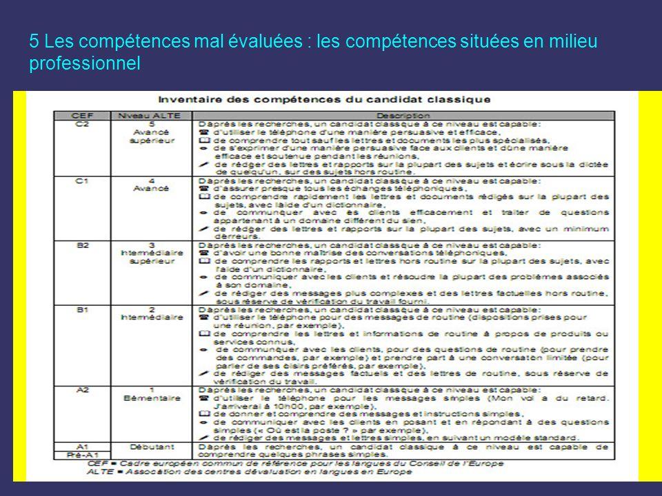 5 Les compétences mal évaluées : les compétences situées en milieu professionnel