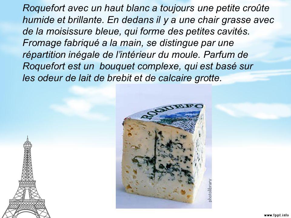 Roquefort avec un haut blanc a toujours une petite croûte humide et brillante.