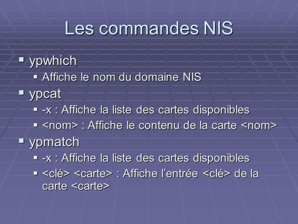 Les commandes NIS ypwhich ypcat ypmatch Affiche le nom du domaine NIS
