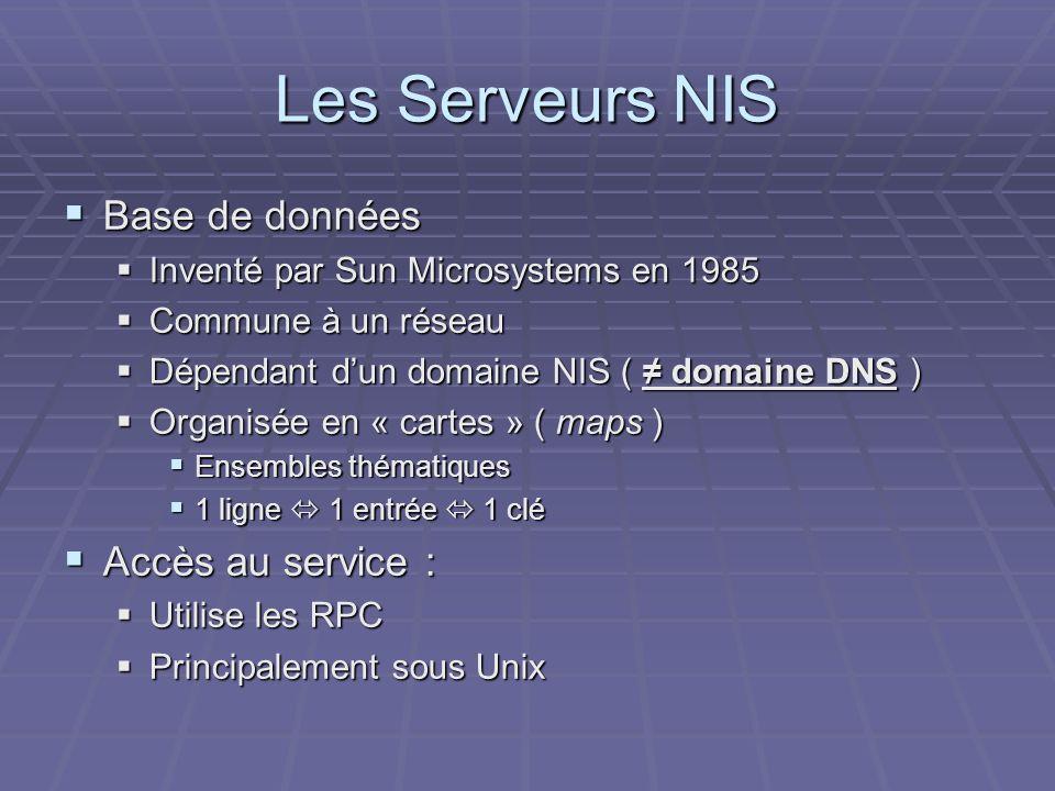 Les Serveurs NIS Base de données Accès au service :
