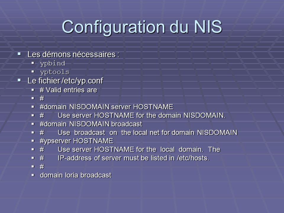 Configuration du NIS Les démons nécessaires : Le fichier /etc/yp.conf