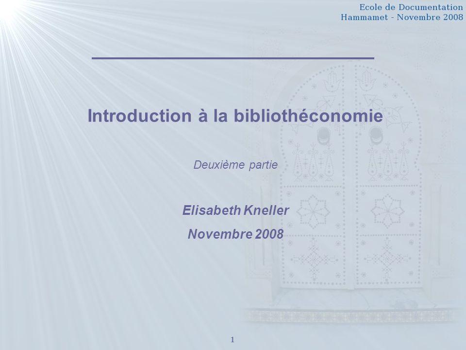 Introduction à la bibliothéconomie