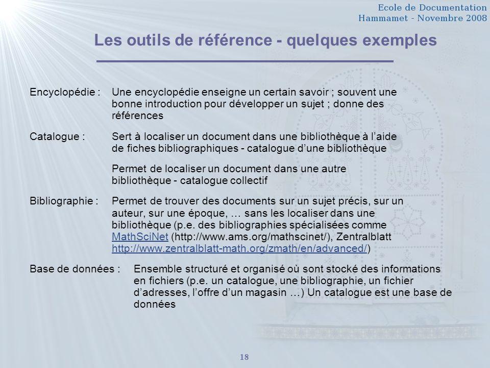 Les outils de référence - quelques exemples