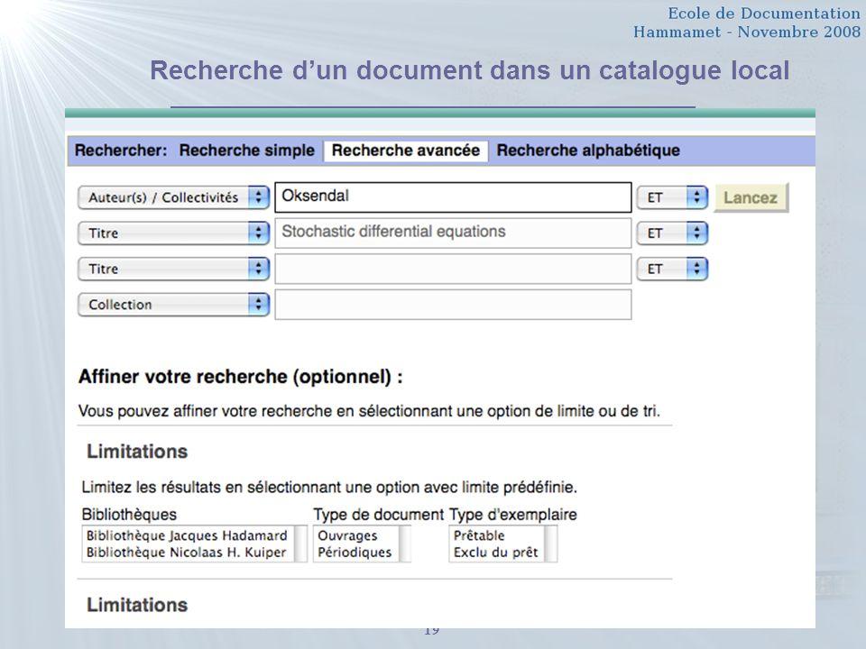 Recherche d'un document dans un catalogue local