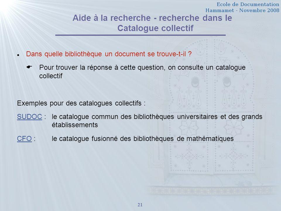 Aide à la recherche - recherche dans le Catalogue collectif