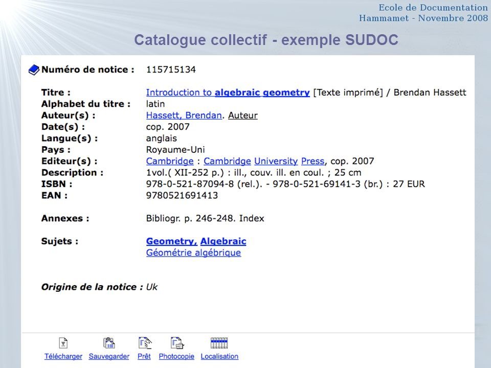 Catalogue collectif - exemple SUDOC