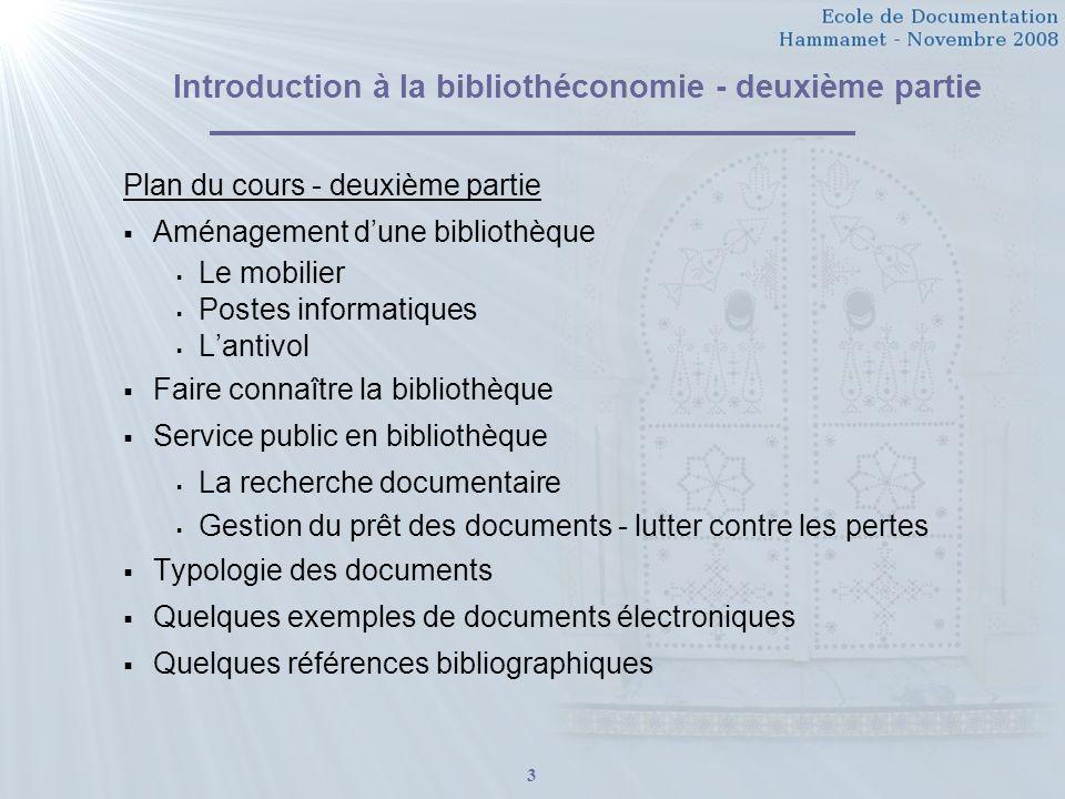 Introduction à la bibliothéconomie - deuxième partie