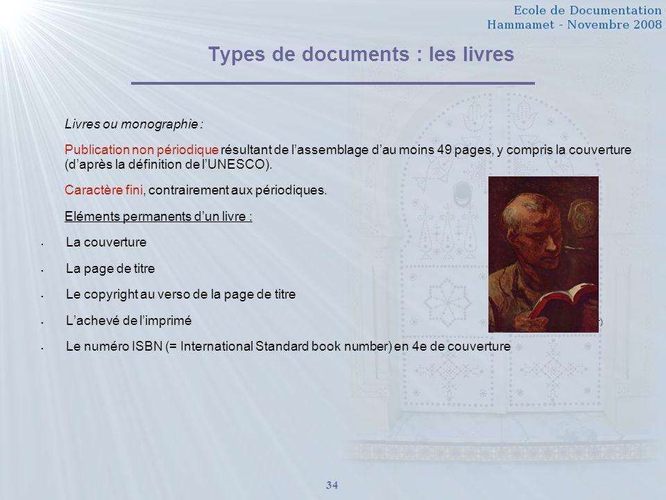 Types de documents : les livres