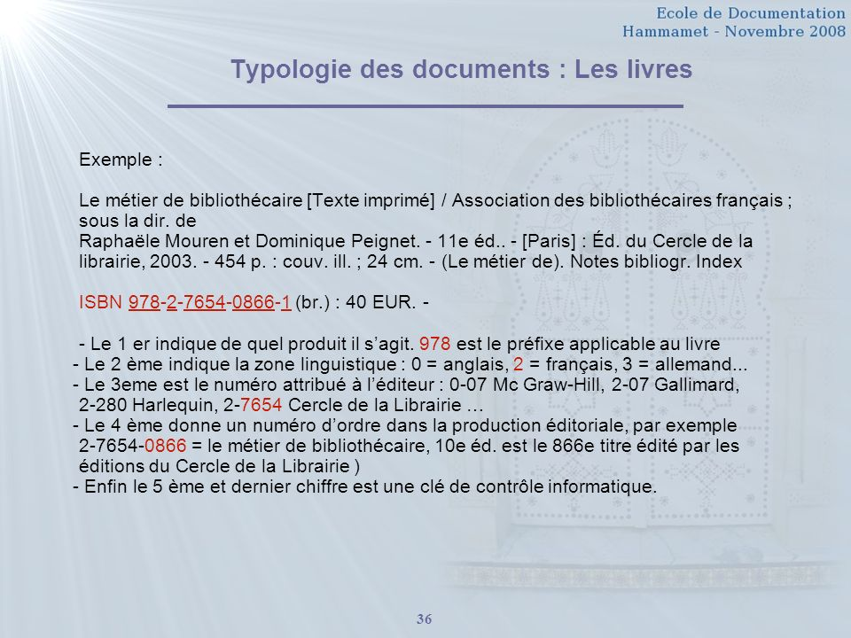 Typologie des documents : Les livres