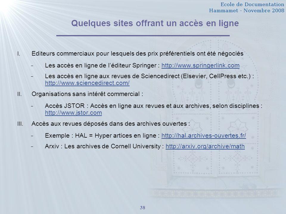 Quelques sites offrant un accès en ligne