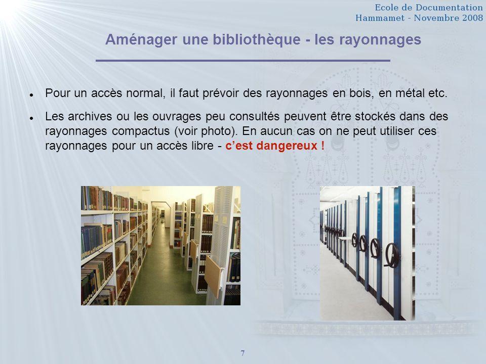 Aménager une bibliothèque - les rayonnages
