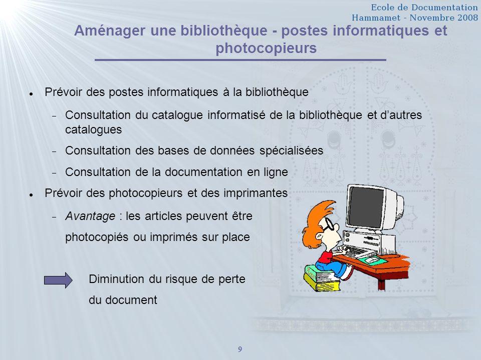 Aménager une bibliothèque - postes informatiques et photocopieurs