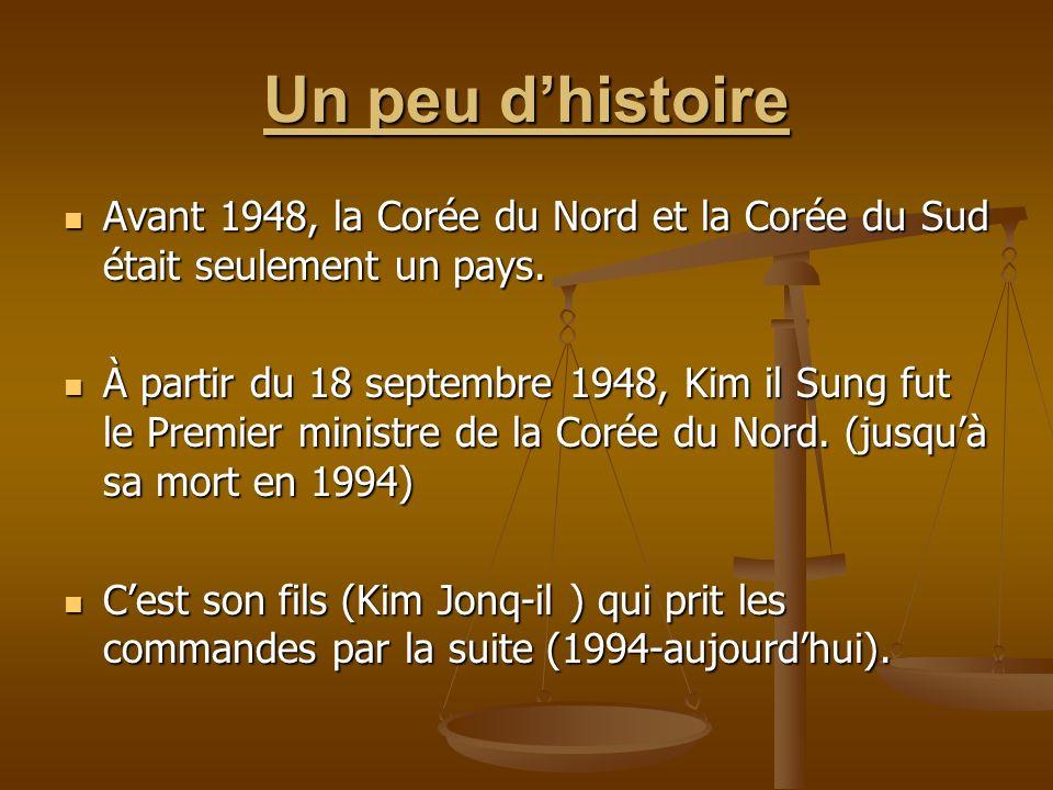 Un peu d'histoire Avant 1948, la Corée du Nord et la Corée du Sud était seulement un pays.